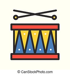 Drum with drumsticks vector icon, filled outline style editable stroke