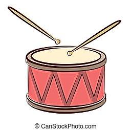 Drum with sticks.