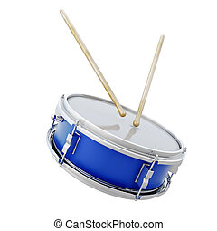 Drum with sticks isolated on white background. 3d...