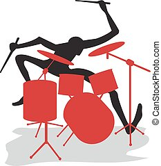 Drummer - A drummer carries out a solo on drums
