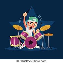 Drummer character plays drums. Vector flat cartoon...