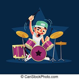 Drummer character plays drums. Vector flat cartoon...