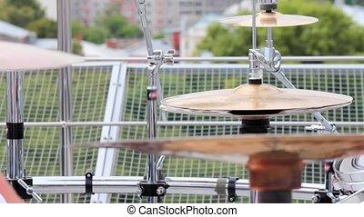 Drummer closeup play hat