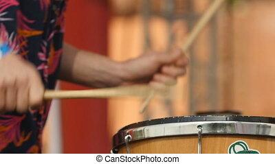 drum and drum sticks close up