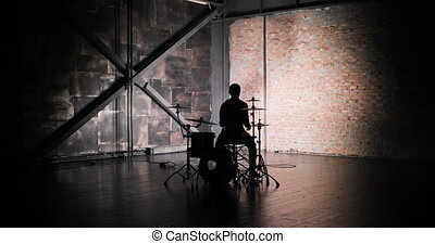 Drummer Drumming on Stage - Close Up - Concert rock band...