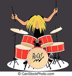 Drummer - Rock and roll musician playing drums, vector...