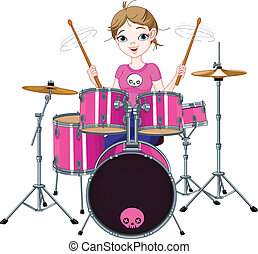 Drummer girl - Teenager girl playing drums