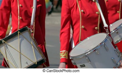 Drummer girl - drummer girl on city parade