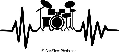 Drummer heartbeat line with drums