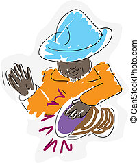 Drummer Illustration - Sketch of an Aborigine man playing a...