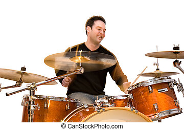 Drummer in Action - Drummer in action isolated on white...