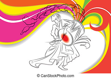 Drummer in Durga Puja - illustration of drummer playing dhol...