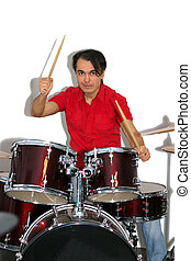 drummer in red shirt playing the drums isolated on a white background