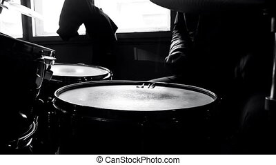 Drummer in studio playing drumms