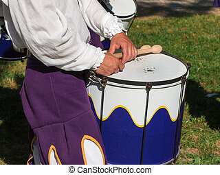 Drummer in Uniform Playing Snare Drum