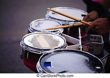 Drummer marching in Annual sports event parade