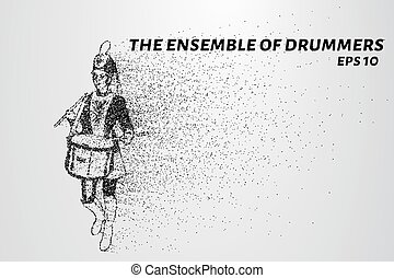 Drummer of the particles. The drummer in a school orchestra....