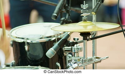 Drummer playing on cymbal - Drummer play music on drums and...