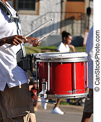 Drummer Playing Red Snare Drums in Parade, Copy Space,...