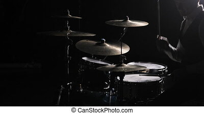 Drummer Plays Drums Kit. Drummer Hand Silhouette With...