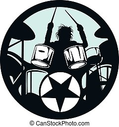drummer rock star in the vector circle