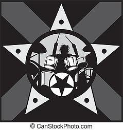 drummer rock star vector - drummer rock star