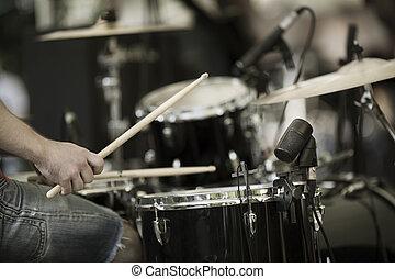 drummer - detail of a drummer on the rock concert, selective...