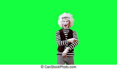 Drummer - Mime playing on drumset. This clip is pre-matted...
