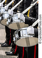 drummers of military band on parade