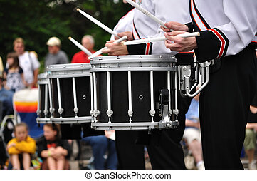 Drummers Playing Snare Drums in Parade, Copy Space
