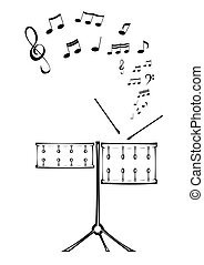 Drums and note. - Black and white picture of two drums with ...