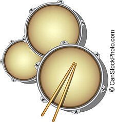 Drums and pair of wooden drumsticks on white background