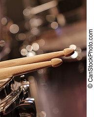 Drums closeup and drum sticks