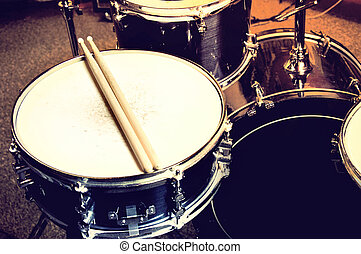 Drums conceptual image. Picture of drums and drumsticks...