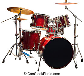 Drums cutout - Set of Red drums isolated with clipping path
