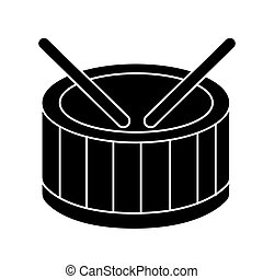 drums icon, vector illustration, black sign on isolated background