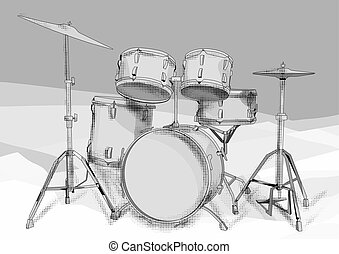 drums kit on grey background. 10 EPS