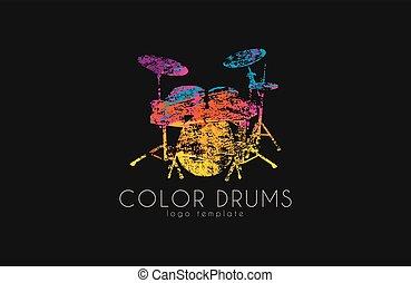 Drums logo. Color music logo. Music logo. Logo in grunge style. Creative logo