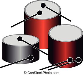 Drums on white background