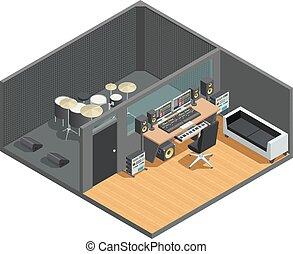 Drums Recording Studio Interior - Music studio isometric...