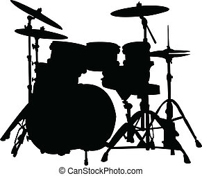 Drums silhouette - vector