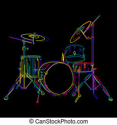 Drums - Stylized drum kit graphic over black
