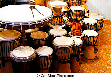 Drums - Bunch of traditional hand made leather drums