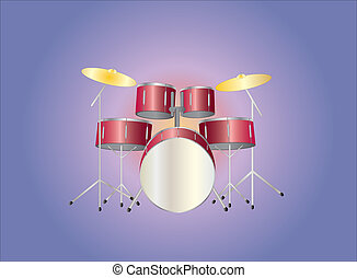 red drumset on light background