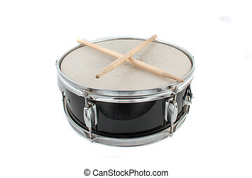 Drumsticks and Snare drum - Snare drum and drumsticks on a...