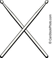 drumsticks., música, vector, instrument., ilustración