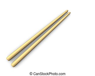 Musical instrument; drumsticks. Isolated on white background.