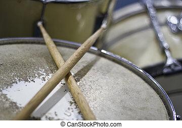 Drumsticks on Snare Drum