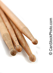 Drumsticks - Pile of percussion drumsticks on a white...
