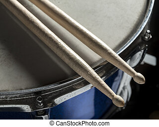 Drumsticks snare drum - Drumsticks resting on the snare...